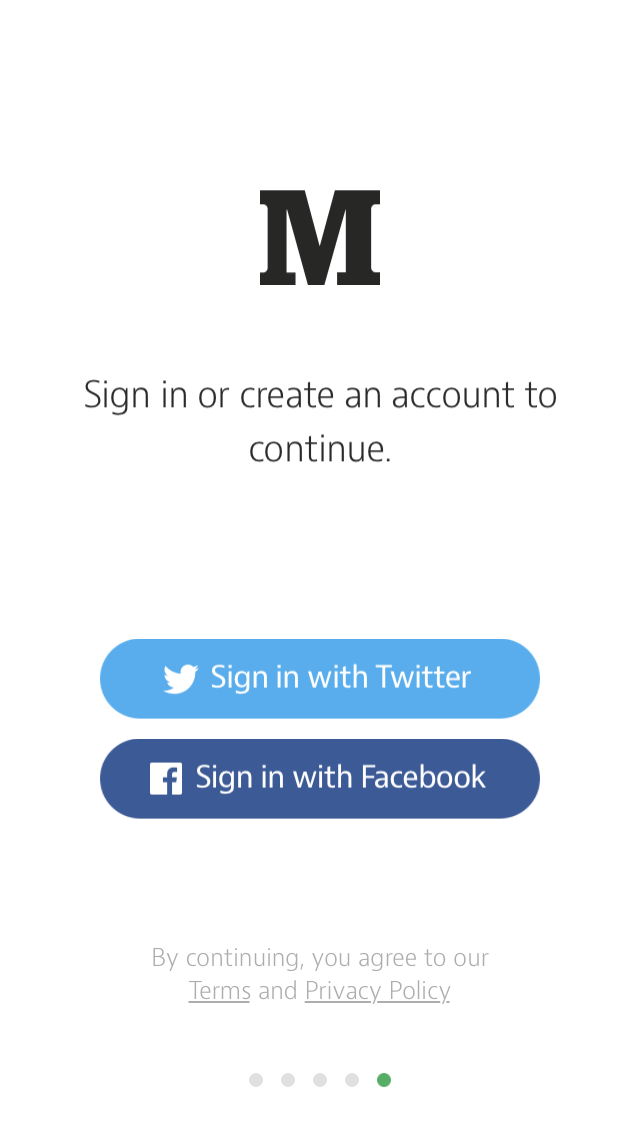 Medium login on iOS