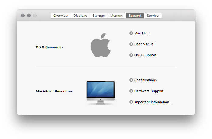 Support details of the iMac